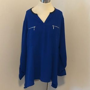 Rafaella Vibrant Blue Tunic Long Sleeve Blouse
